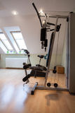 Gym equipment. Domestic gym: equipment for training, vertical view Royalty Free Stock Photos