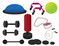 Gym equipment. Collection of illustrated gym equipment Stock Photos