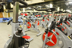 Gym equipment. Gym or gymnasium equipment in a world-class facility suitable for athletes training for international events. Picture shows fitness cycles royalty free stock image