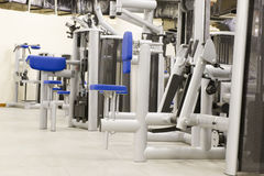 Gym equipment. Gym or gymnasium equipment in a world-class facility suitable for athletes training for international events royalty free stock photos