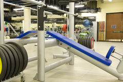 Gym equipment. Gym or gymnasium equipment in a world-class facility suitable for athletes training for international events royalty free stock photo