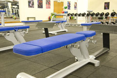 Gym equipment. Gym or gymnasium equipment in a world-class facility suitable for athletes training for international events stock photo