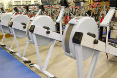 Gym equipment. Gym or gymnasium equipment in a world-class facility suitable for athletes training for international events. Picture shows rowing machines stock images