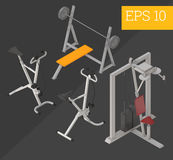 Gym equipment isometric vector illustration Stock Photos