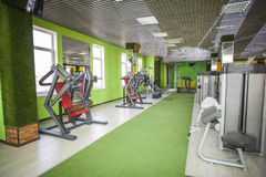 Gym equipment room. Room with gym equipment in the sport club Stock Image