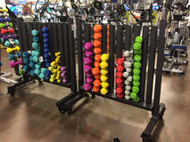 Gym equipment for sale at furniture market Stock Image