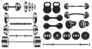 Free Gym Equipment Silhouette. Fitness Sport, Heavy Weight Barbell And Vintage Bodybuilding Stencil Vector Illustration Set Royalty Free Stock Photo - 160547915