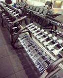 Gym Equipment. A state of the art gym equipment enough for everyone. Happy workout to everyone stock images