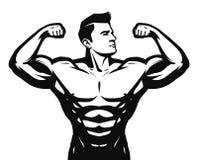 Gym, esporte, logotipo do halterofilismo ou etiqueta Homem forte com músculos grandes Ilustração do vetor ilustração royalty free