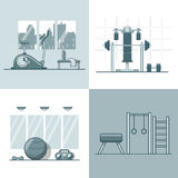 Gym exercise equipment room interior indoor set. L Stock Photos