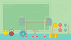 Gym exercise equipment room interior indoor set. Linear stroke outline flat style vector icons. Monochrome cycle bike Stock Photography