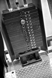 Gym Exercise Equipment - Weight Selector. Black and white image of the weight or resistance selector on professional exercise equipment at a commercial gym Royalty Free Stock Photography