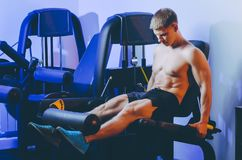 Gym exercise man. Fitness sport train indoor Royalty Free Stock Photography