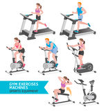 Gym exercises machines sports equipment. Vector Illustration Stock Photography