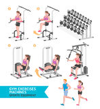 Gym exercises machines sports equipment. Stock Image