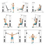 Gym exercises machines sports equipment. Stock Images