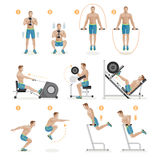 Gym exercises machines sports equipment. Vector Illustration Stock Image