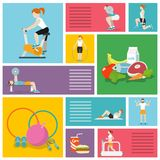 Gym exercises people Stock Images