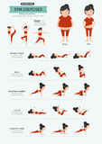 Gym exercises,strong core workout. Illustration, vector Stock Photography