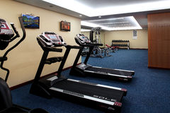 The gym. Exercise,fitness,The treadmill,Sports room,activity,Leisure sports,The treadmill Royalty Free Stock Images