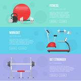 Gym and Fitness center flyers. Sport background Stock Photos