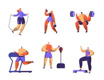 Gym Fitness Character Set. Sport Cardio Workout Man and Woman Figure Collection. Healthy Aerobic Weightlifter, Boxer. Athlete Trainer Flat Vector Illustration vector illustration