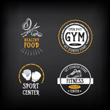 Gym and fitness club logo design, sport badge. Vector with graph Stock Image