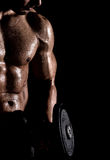Gym and fitness concept - bodybuilder and dumbbell Stock Images