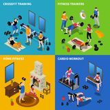 Gym Concept Icons Set. Gym and fitness concept icons set with training symbols isometric isolated vector illustration stock illustration