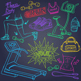 Gym and fitness doodles Royalty Free Stock Photo