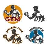 Gym or fitness emblem set vector illustration
