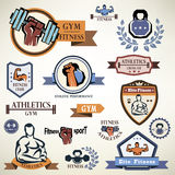 Gym, fitness emblems collection Stock Photo