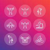 Gym, fitness exercises icons, fitness training. Gym, fitness exercises line icons, fitness training pictograms set Royalty Free Stock Images