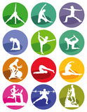 Gym and fitness figures stock illustration