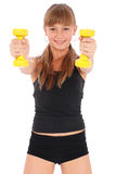 Gym fitness girl training her body with dumbbell Royalty Free Stock Image