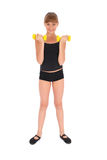 Gym fitness girl training her body with dumbbell Royalty Free Stock Photography