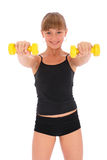 Gym fitness girl training her body with dumbbell Stock Images