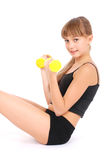 Gym fitness girl training her body with dumbbell Royalty Free Stock Photos