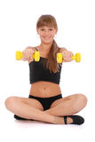 Gym fitness girl training her body with dumbbell Stock Photography