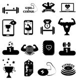 GYM fitness icons set. In black Royalty Free Stock Photography