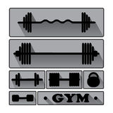 Gym Fitness icons vector. Stock Photos