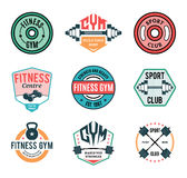 Gym and Fitness Label Templates and Athletic Badges Stock Photography