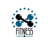 Gym and fitness logo template, retro style vector emblem. With d. Umbbell vector illustration