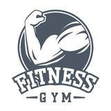 Gym fitness logo vector badge. Royalty Free Stock Photography