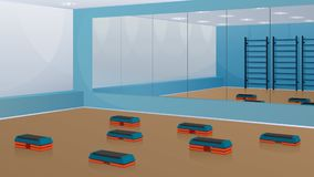 Gym for fitness, with step-platforms on the floor and mirrors on the wall. Vector background. Gym for fitness, with step-platforms on the floor and mirrors on Stock Photography