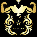 Gym and fitness symbol. Design for gym and fitness, gold on black background Stock Photography
