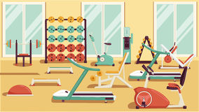 Gym 01 Flat Colorful Illustrations. Flat colorful gym. Running. Workout vector illustration Stock Images