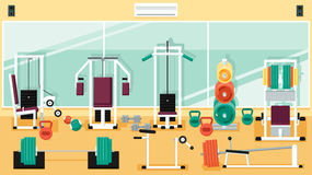 Gym 01 Flat Colorful Illustrations. Flat colorful gym. Running. Workout vector illustration Royalty Free Stock Photography