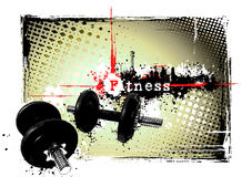 Gym frame. Illustration of the dumbbels in the grungy background Royalty Free Stock Photo