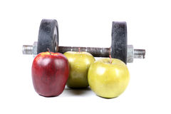 Gym and fruits Stock Image